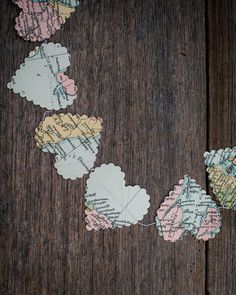 vintage paper world map hearts garland