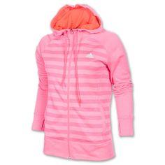 Women's adidas Ultimate Fleece Full-Zip Stripe Hoodie - F95058 PNK | Finish Line