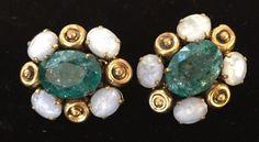 Vtg Designer Christian Dior Goldtone Green Glass Clip Earrings Runway Statement  #ChristianDior #Clip