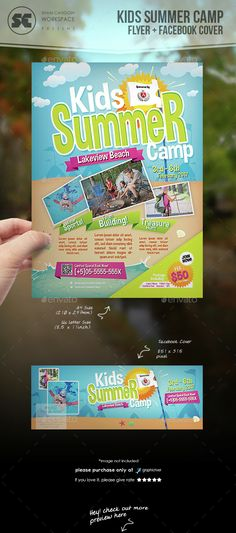 Kids Summer Camp Flyer — Photoshop PSD #easter #fun • Available here → https://graphicriver.net/item/kids-summer-camp-flyer/14659758?ref=pxcr