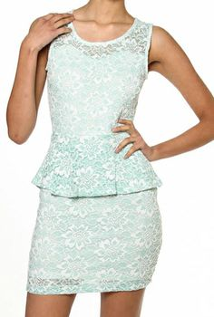 My Betrothed Floral Laced Peplum Dress in Mint  $45.99