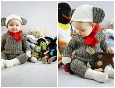 Sock monkey baby costume (made from a grey sweater!)