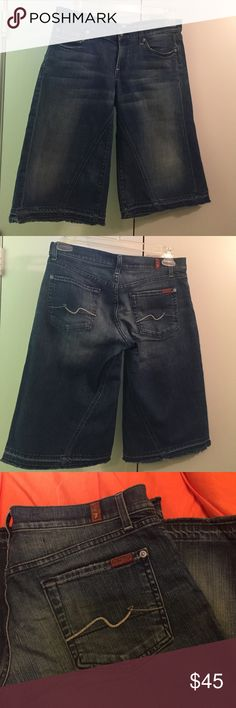 """7  For All Mankind Short Sz 29 7 for all Mankind Jeans 29 Parker Gauchos Amsterdam Denim Wide Shorts Crop 14""""with unfinished hem. Excellent condition 7 for all Mankind Shorts Jean Shorts"""
