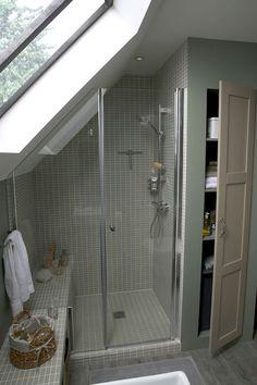 Attic Bathroom Ideas 6 - New house Loft Conversion - Attic Shower, Small Attic Bathroom, Loft Bathroom, Upstairs Bathrooms, Bathroom Interior, Sloped Ceiling Bathroom, Slanted Ceiling, Bathroom Mirrors, Bath Shower
