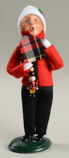 Byers Choice Ltd Byers Choice Carolers at Replacements, Ltd Piece Code: NB746  Piece Name: Boy Holding Nutcracker Ornamen - Nb746, No Box  Size: 8 in