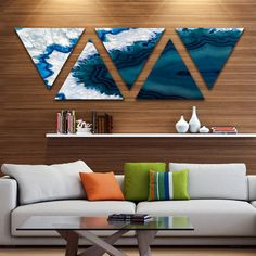 Shop for Designart 'Beautiful Fractal Rainbow Waves' Floral Triangle Canvas Art Print - 5 Panels - Multi-color. Get free delivery On EVERYTHING* Overstock - Your Online Art Gallery Store! Get in rewards with Club O! Contemporary Wall Art, Unique Wall Art, Modern Art, Canvas Art Prints, Canvas Wall Art, Canvas 5, Resin Wall Art, Fractal Design, Art Design