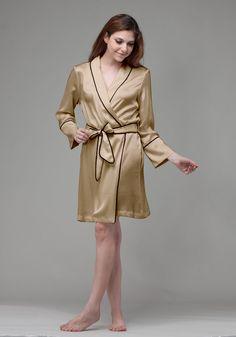 Silk women nightwear robes--Champagne robes #Silk #robes   Revesilk.com