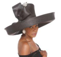 82e51161a29 ROSEBUD NY BLACK RHINESTONE HAT WIDE BRIM Church COGIC Derby Formal ...