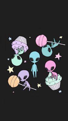 Resultado de imagen para dibujos de marcianos, ovnis, luna, estrellas, etc
