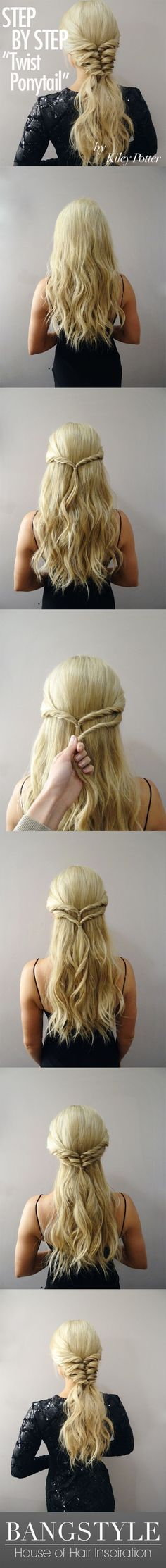 Twist Ponytail Tutorial by Kiley Potter - Bang. Twist Ponytail Tutorial by Kiley Potter – Bangstyle This gives a partial braid look, very pretty. Pretty Hairstyles, Braided Hairstyles, Latest Hairstyles, Wedding Hairstyles, Medium Hairstyles, Hairstyles Haircuts, Hairstyle Short, Popular Hairstyles, Glam Hairstyles