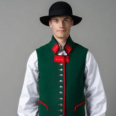 Front Sogn herrebunad Traditional German Clothing, Traditional Outfits, Norwegian Wedding, German Outfit, Folk Clothing, Going Out Of Business, Folk Costume, Ethnic Fashion, Headgear