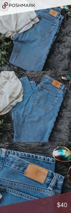 """Vintage Tommy Hilfiger """"mom"""" Jeans The elusive vintage Tommy Mom Jean! These are size 8, with a high rise and straight leg! The spell out flag logo on the back is leather and perfectly distressed :) the inseam in 31"""". So on trend!! Tommy Hilfiger Jeans Straight Leg"""