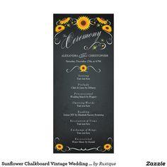 Sunflower Chalkboard Vintage Wedding Program 4x9.25 Paper Invitation Card