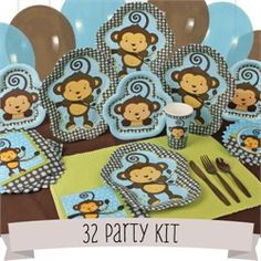 Monkey Baby Shower Theme Ideas - Baby Shower Supplies For Little Monkey - PartyIdeasParade.com I found this great party kit for a Monkey themed baby shower that's cute as can be. Take a look at the invitations, the baby shower favor ideas, the shower games, the diaper cake, cupcake holders and some very cute Monkey mylar balloons.
