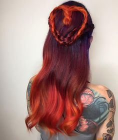60 Best Long Hairstyles in 2017 | Heart braid in shades of red ombre hair | Red color melt hair color for long hair