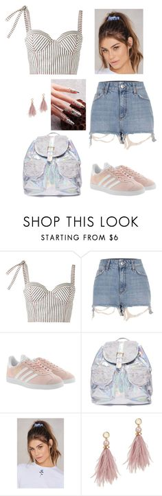 """""""Meh Monday"""" by juju-mari-pie ❤ liked on Polyvore featuring Rosie Assoulin, River Island, adidas Originals, 3 AM Imports, NA-KD and Lizzie Fortunato"""