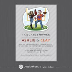 Tailgate Shower Invitation Flat Card by JessicaRenaeDesigns, $15.00