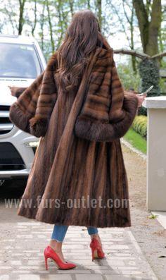 DEMI BUFF ROYAL MINK FUR LONG SWINGER COAT CLASS OF SABLE CHINCHILLA FOX JACKET