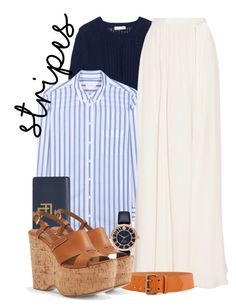 """""""stripes"""" by ailav9 ❤ liked on Polyvore featuring Rebecca Taylor, Equipment, Ralph Lauren, Jenny Packham and Kate Spade"""