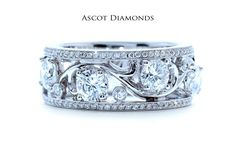 Ascot Diamonds diamond right hand ring, 18k white gold and diamond band with milgrain edge