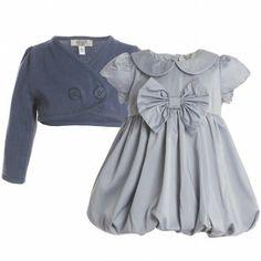 Armani Junior Baby Girls Grey Silk Bubble Dress & Cardigan Boxed Set at Childrensalon.com