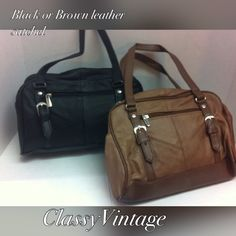 Black or antique brown leather satchel. These are all leather satchels. Antique brown or black leather. These are soft leather not stiff. Double handles that have faux buckles front and back and nylon fabric interior. One exterior zippered pocket and one exterior outside snap pocket. There is one zipper on top and an inside zippered side wall pocket. 10 inches long X 7 inches high and 4 inches wide. Handle drop is 8 inches. Leather boutique Bags Satchels
