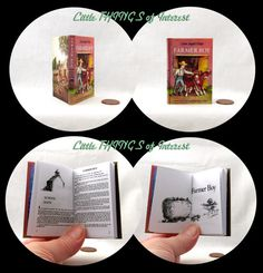 """FARMER BOY Illustrated Book in 1:3 Scale Readable Book American Girl Laura Ingalls Wilder 18 inch AG Doll 1/3 Scale Little House Prairie  """