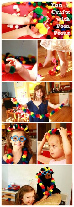 Fun & Crafts with Pom Poms! I really need to get a giant bag of Pom-poms! They are great for throwing at each other too? :)