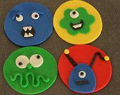 Fondant Monster Cupcake Toppers; pretty cool idea!