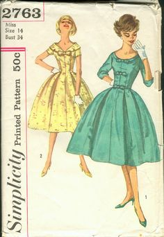 Simplicity 2763  Vintage dress with bows.