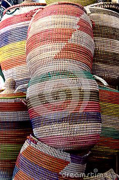 Colored baskets in outdoor market
