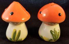 Vintage Mushroom Salt and Pepper Shakers 1970s Kitchen Decor Ceramic