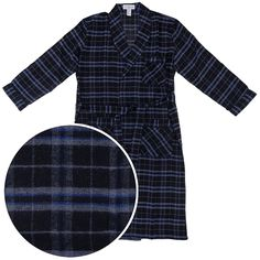 1b2584643a3a Black and Blue Flannel Bath Robe for Men