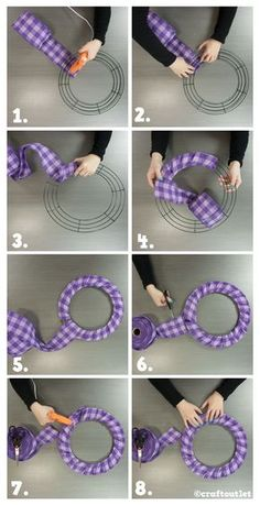 Wrap a wire wreath form for a cute wreath base for bows, floral or signs.