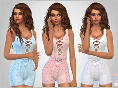 Set of 4 bodysuits for sleepwear and everyday  Found in TSR Category 'Sims 4 Female Sleepwear'
