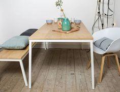 Pure Wood Design - Norberg  Eiken tafel met stalen frame. Scandinavisch en industrieel design.