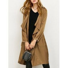 Drape Front Long Duster Coat with Pockets Hipster Outfits, Boho Outfits, Outfits For Teens, Vintage Outfits, Long Duster Coat, Coats For Women, Clothes For Women, Glamour, Fashion Seasons