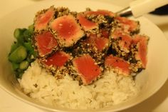Jamie Oliver's 15 minute meals: Seared tuna with greens and coconut rice
