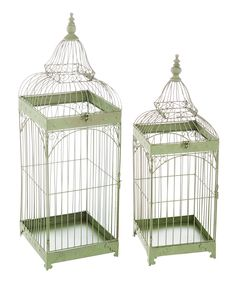 Green Antiqued Decorative Birdcage Set
