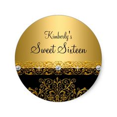 Gold & Black damask Sweet Sixteen Sticker
