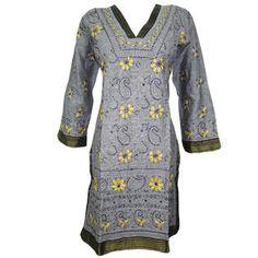 Mogulinterior Womens Kurta Top Grey Floral Embroidered Cotton Designer Tunic