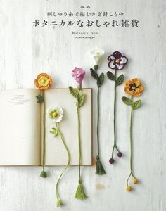 Botanical small crochet with embroidery thread Crochet Girls, Diy Crochet, Crochet Crafts, Yarn Crafts, Crochet Projects, Diy Bookmarks, Crochet Bookmarks, Crochet Books, Photo Bookmarks