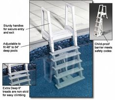 Deluxe, Heavy Duty In-Pool Above Ground Pool Ladder