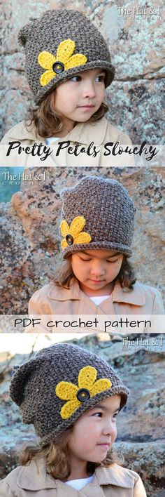 What a cute hat! I love the bright yellow flower with the button center! Lovey rolled rim beanie crochet pattern with a slouch! Gorgeous for a girl or any woman #etsy #ad #toque #pdf #crochet #pattern