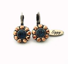 Daisy flower Swarovski crystal earrings blue and by SiggyJewelry