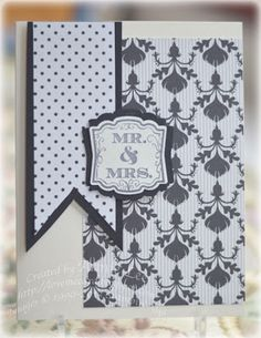 "handmade wedding card from Love to Make Cards ... black and white ... patterned papers ... three parts ... big panel of wallpaper patterned paper... large layered fishtail with polka dots ... small layered tag with ""Mr & Mrs"" ... like this card!! ... Stampin' Up!"