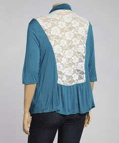 Look what I found on #zulily! Teal & White Sheer Lace-Back Open Cardigan - Plus by Eighteen #zulilyfinds