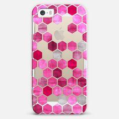 #pink #hexagon #watercolor #ink #iPhone #case #casetify #micklyn #magenta #crystal #transparent #hexagons #honeycomb