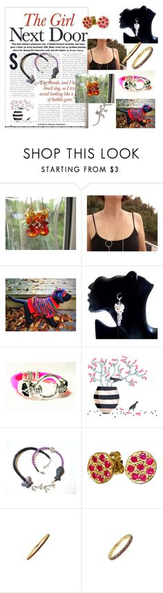 """""""The girl next door."""" by stavrosdragatakis ❤ liked on Polyvore featuring Giallo, etsyevolution and dragtakisjewellery"""
