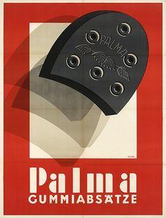 Hermann Kosel, advertising poster for rubber heels. Vintage Advertisements, Vintage Ads, Vintage Posters, Vintage Designs, Modern Graphic Design, Graphic Design Illustration, Bauhaus, Vintage Lettering, Typography Poster